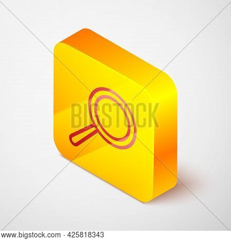 Isometric Line Frying Pan Icon Isolated On Grey Background. Fry Or Roast Food Symbol. Yellow Square