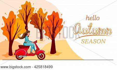 Hello Autumn Banner. Autumn Park Trees And A Girl On A Red Scooter.