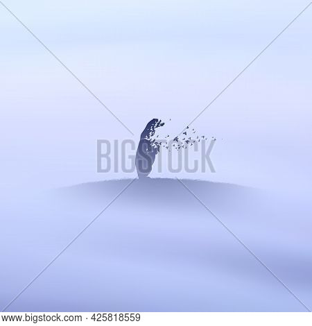 Polar Bear And Flying Birds. Endangered Animal. Death And Afterlife