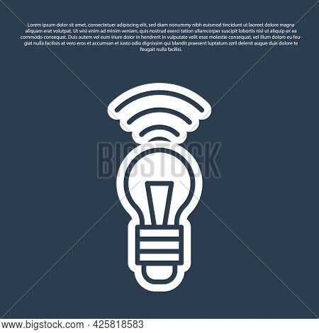 Blue Line Smart Light Bulb System Icon Isolated On Blue Background. Energy And Idea Symbol. Internet