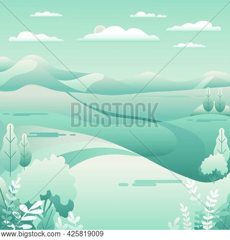 Hills, Mountains Landscape In Flat Style Design. Road In The Hills, Sky, Clouds. Minimal Outdoor Rur
