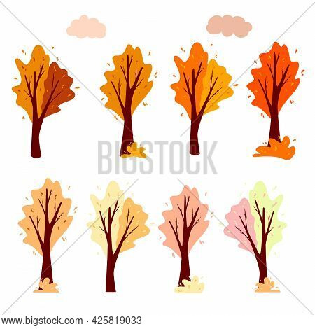 Set Abstract Autumn Tree And Cloud. Ornamental Plant. Cartoon Style.