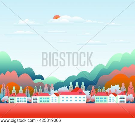 Minimal Landscape Village, Mountains, Hills, Trees, Forest. Rural Valley Scene. Farm Countryside Wit