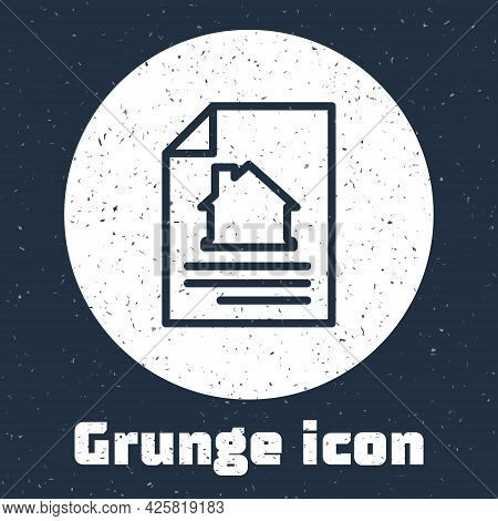 Grunge Line House Contract Icon Isolated On Grey Background. Contract Creation Service, Document For
