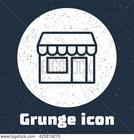 Grunge Line Shopping Building Or Market Store Icon Isolated On Grey Background. Shop Construction. M
