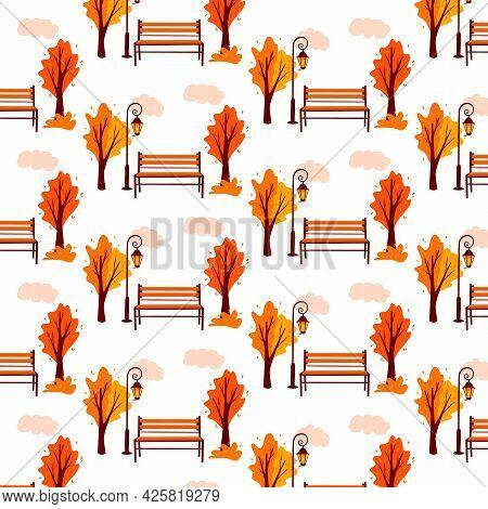 Autumn Pattern. Autumn Landscape. Background. City Park. Park Bench, Lantern.