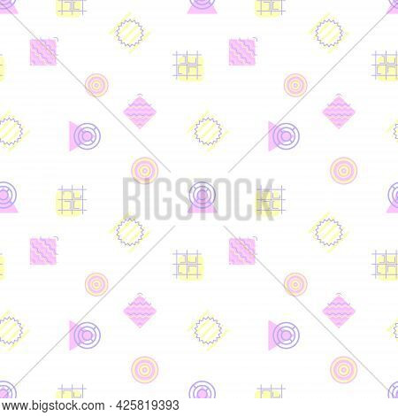 Vector Abstract Seamless Pattern. Modern Geometric Shapes And Forms. Neon Circles And Squares, Paral
