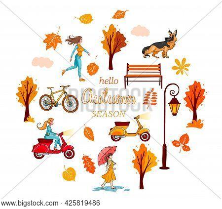 Big Autumn Set. Yellow Leaves, Trees, Bench Lantern, Girl.