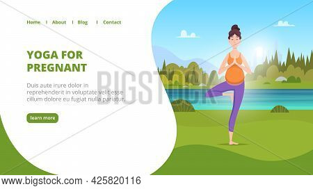 Outdoor Yoga Landing. Pregnant Women Making Yoga Exercises In Green Park Fitness For Healthy Mother