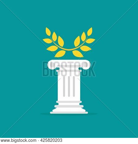 Winner Pedestal With Golden Laurel. Podium For Best Product With Greek Or Roman Column. Antique Pill