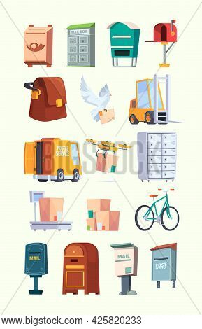 Postal Office Items. Mail Service Car Letters Postal Box Delivery Packages Garish Vector Flat Illust