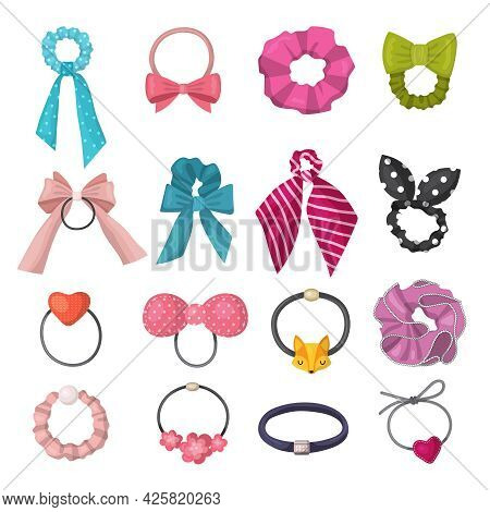 Elastic Scrunchy. Fashion Ribbons For Women Hairs Headband Decorative Accessories Recent Vector Colo