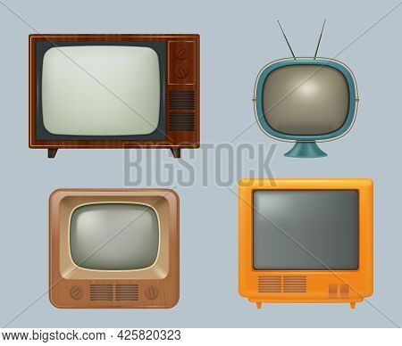 Retro Tv Collection. Realistic Electronic Household 80s Tv Set For Watching Entertainment Media News