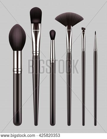 Makeup Brushes. Professional Tools For Beauty Woman Makeup Powder Eyeshadows Decent Vector Realistic