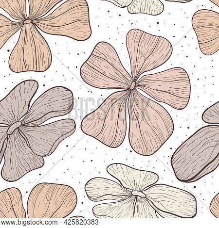 Vector Seamless Floral Pattern. Flower Buds In Pastel Colors With Large Petals In Line Art Style. De