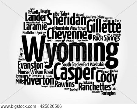 List Of Cities In Wyoming Usa State, Silhouette Map Word Cloud
