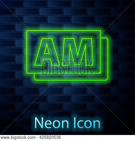 Glowing Neon Line Clock Am Icon Isolated On Brick Wall Background. Time Symbol. Vector