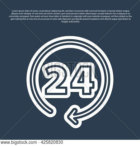Blue Line Clock 24 Hours Icon Isolated On Blue Background. All Day Cyclic Icon. 24 Hours Service Sym
