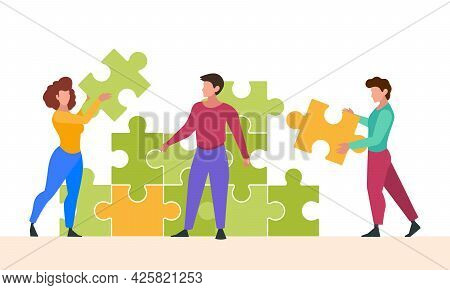 Business Puzzle. Characters Collect Jigsaw Successful Business Team Solution Cooperative Consulting