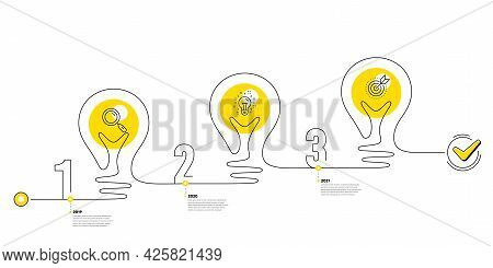Business Infographic Template. Lightbulb Journey Path Infographics. Timeline With 3 Steps. Workflow