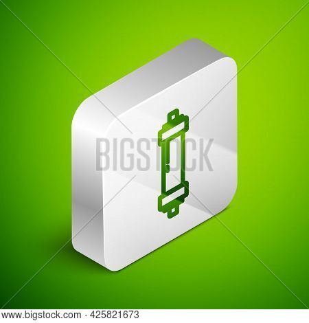 Isometric Line Shock Absorber Icon Isolated On Green Background. Silver Square Button. Vector