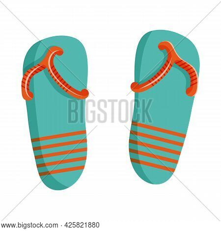 Vector Illustration Of Flip Flops In Cartoon Flat Style. Summer Beach Shoes In Blue With Orange Stri