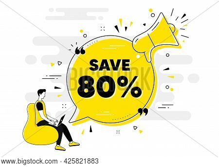 Save 80 Percent Off. Alert Megaphone Chat Banner With User. Sale Discount Offer Price Sign. Special