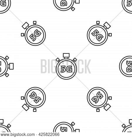 Grey Line Digital Speed Meter Concept With 5g Icon Isolated Seamless Pattern On White Background. Gl