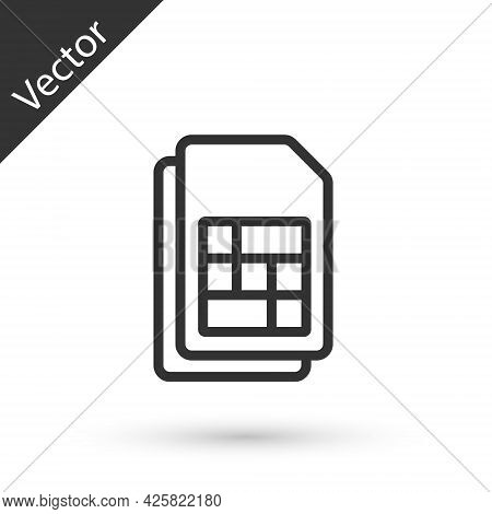 Grey Line Sim Card Icon Isolated On White Background. Mobile Cellular Phone Sim Card Chip. Mobile Te