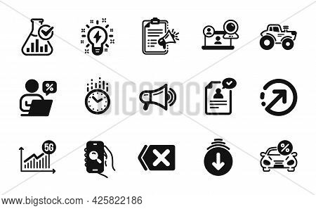 Vector Set Of Inspiration, Time And Scroll Down Icons Simple Set. Search App, Remove And Megaphone C
