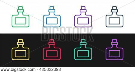 Set Line Sauce Bottle Icon Isolated On Black And White Background. Ketchup, Mustard And Mayonnaise B