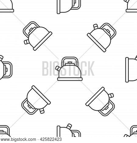 Grey Line Kettle With Handle Icon Isolated Seamless Pattern On White Background. Teapot Icon. Vector
