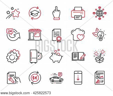 Vector Set Of Business Icons Related To Refrigerator Timer, Middle Finger And Eco Energy Icons. Car