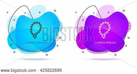 Line Rosary Beads Religion Icon Isolated On White Background. Abstract Banner With Liquid Shapes. Ve