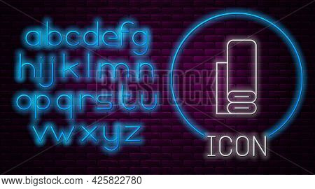 Glowing Neon Line Indian Textile Fabric Icon Isolated On Brick Wall Background. Roll, Mat, Rug, Clot