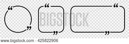 Set Of Quote Box Frames. Quote Forms. Simple Bubble Quotation, Comment, Message Borders. Vector Isol