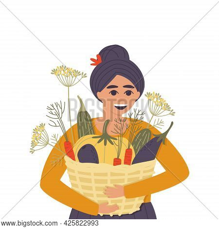 Happy Woman With A Basket Of Autumn Vegetables. Fresh Harvest Of Ripe Vegetables In A Basket. Postca