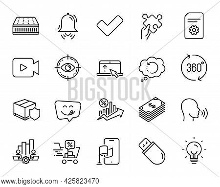 Vector Set Of Recovery Data, Tick And Human Sing Line Icons Set. Location App, Loan Percent And Cloc