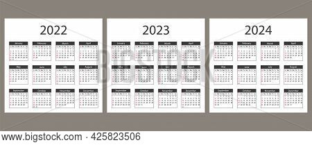 Calendar For 2022, 2023, 2024 Years. Week Starts From Sunday.