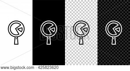 Set Line Omelette In Frying Pan Icon Isolated On Black And White Background. Omelet In A Skillet. Ve