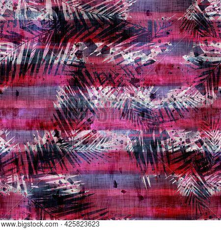 Fancy Ornate Fuchsia Stripe Seamless Pattern For Print