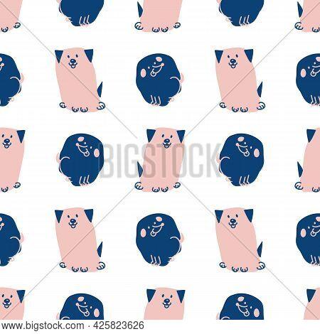 Seamless Cartoon Pet Dog Doodle Pattern. Whimsical Minimal 2 Tone Gender Neutral Color. Kids Nursery