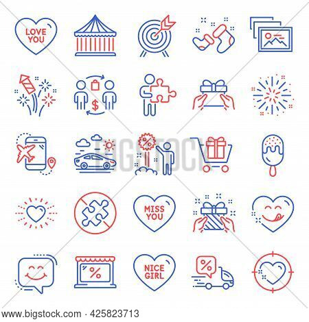 Holidays Icons Set. Included Icon As Delivery Discount, Market, Fireworks Rocket Signs. Puzzle, Ice