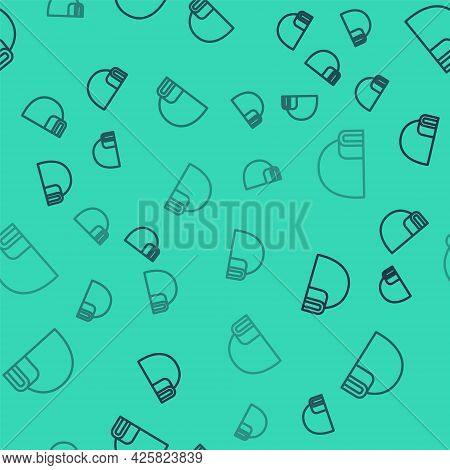 Black Line Igloo Ice House Icon Isolated Seamless Pattern On Green Background. Snow Home, Eskimo Dom