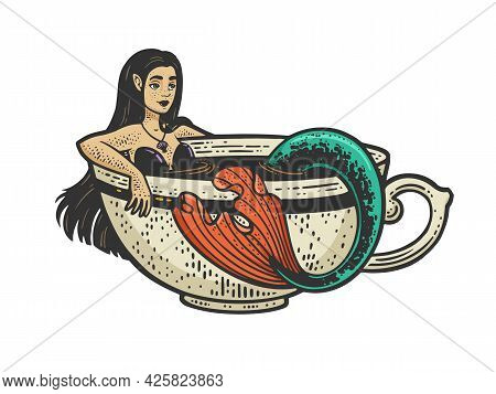 Mermaid Taking A Bath In Cup Of Coffee Color Line Art Sketch Engraving Vector Illustration. T-shirt