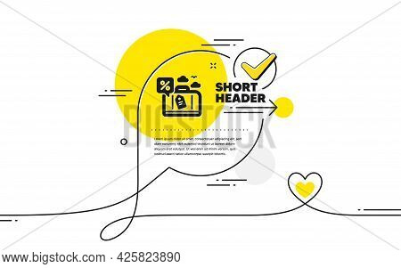 Travel Loan Percent Icon. Continuous Line Check Mark Chat Bubble. Trip Discount Sign. Credit Percent