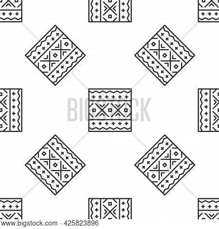 Grey Line Ukrainian Ethnic Pattern For Embroidery Icon Isolated Seamless Pattern On White Background