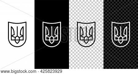 Set Line National Emblem Of Ukraine Icon Isolated On Black And White Background. Ukrainian Trident.