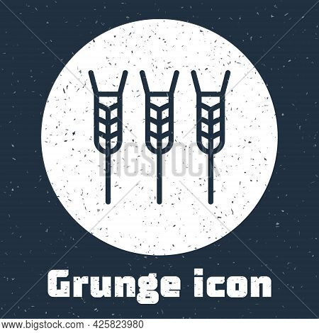 Grunge Line Cereals Set With Rice, Wheat, Corn, Oats, Rye, Barley Icon Isolated On Grey Background.