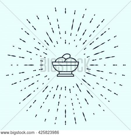 Black Line Varenyky In A Bowl Icon Isolated On Grey Background. Pierogi, Varenyky, Dumpling, Pelmeni